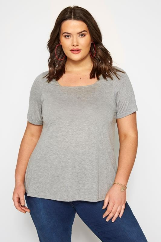 Plus Size Jersey Tops SIZE UP Grey Square Neck T-Shirt