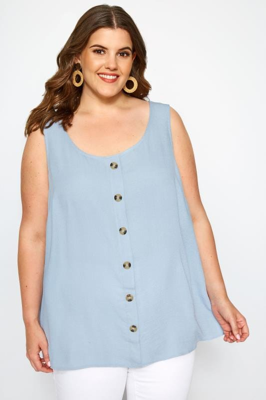 Plus Size SIZE UP Light Blue Button Blouse