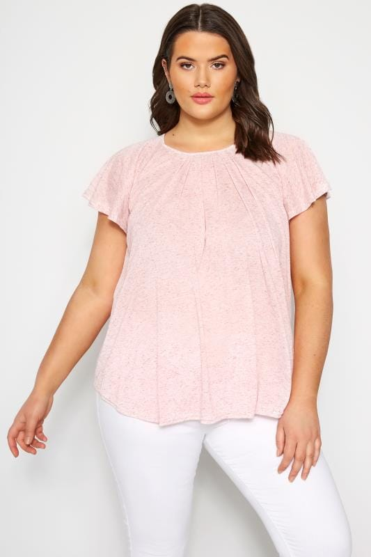 SIZE UP Light Pink Angel Sleeve Jersey Top