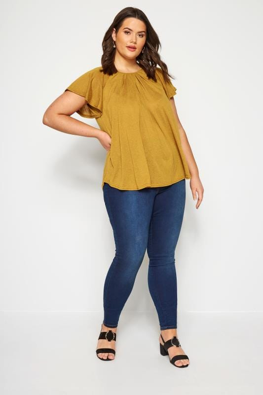 SIZE UP Mustard Angel Sleeve Jersey Top