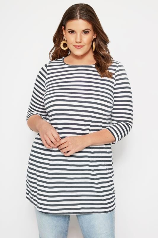 Plus Size Jersey Tops SIZE UP Navy & White Striped Longline Top