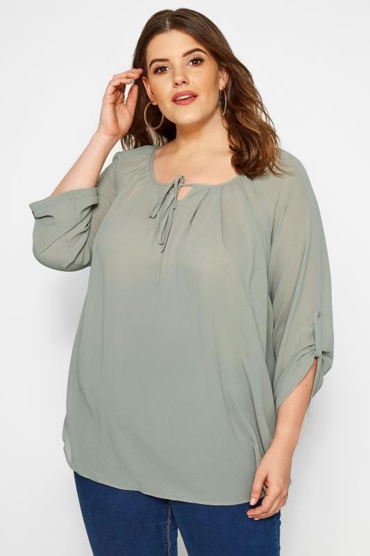 Plus Size Blouses SIZE UP Olive Green Gypsy Blouse