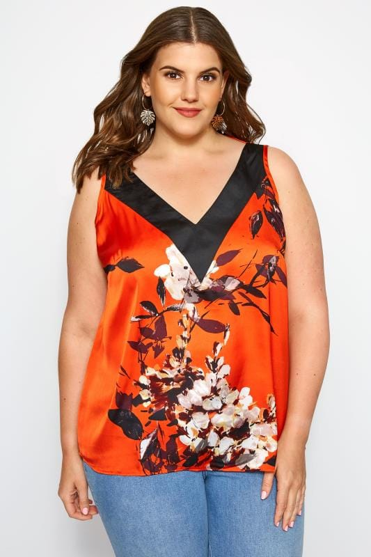 Chemisier en mousseline Grande Taille SIZE UP - Top Orange Imprimé Floral Sans Manches