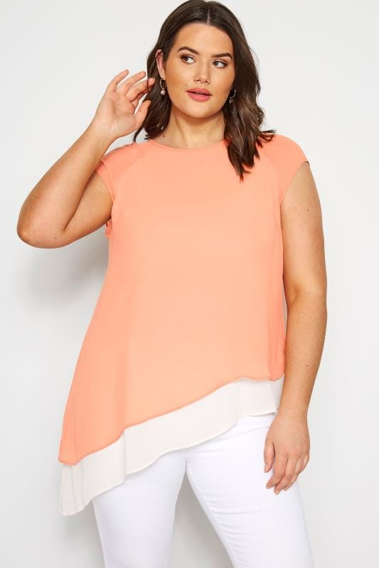 Plus Size Day Tops SIZE UP Peach Double Layered Asymmetric Top