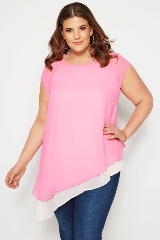 Plus Size Blouses SIZE UP Pink Double Layered Asymmetric Top