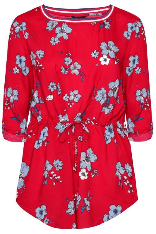 Plus Size Blouses SIZE UP Red Floral Blouse