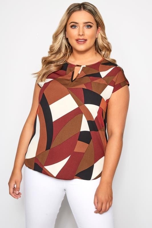 SIZE UP Rust Geometric Print Cut Out Blouse