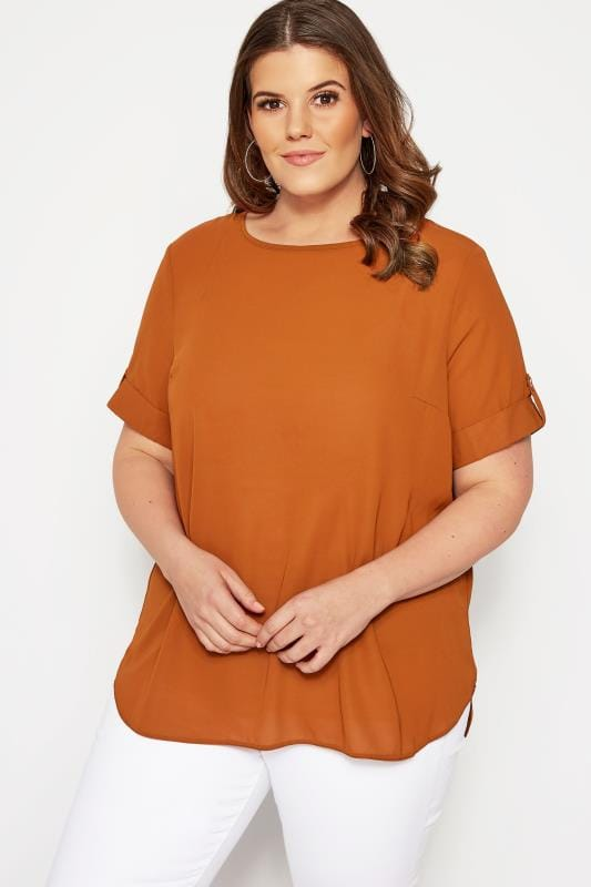 Plus Size Day Tops SIZE UP Rust Orange Chiffon Top