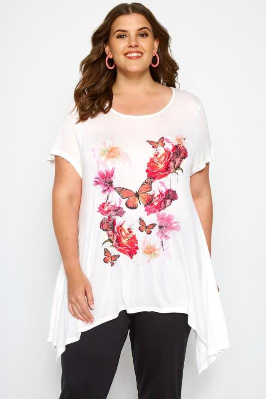 Plus Size Dipped Hem Tops SIZE UP White & Pink Floral Butterfly T-Shirt