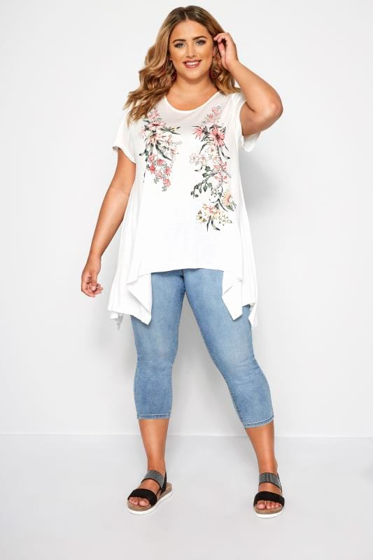 SIZE UP White & Red Floral Hanky Hem T-Shirt