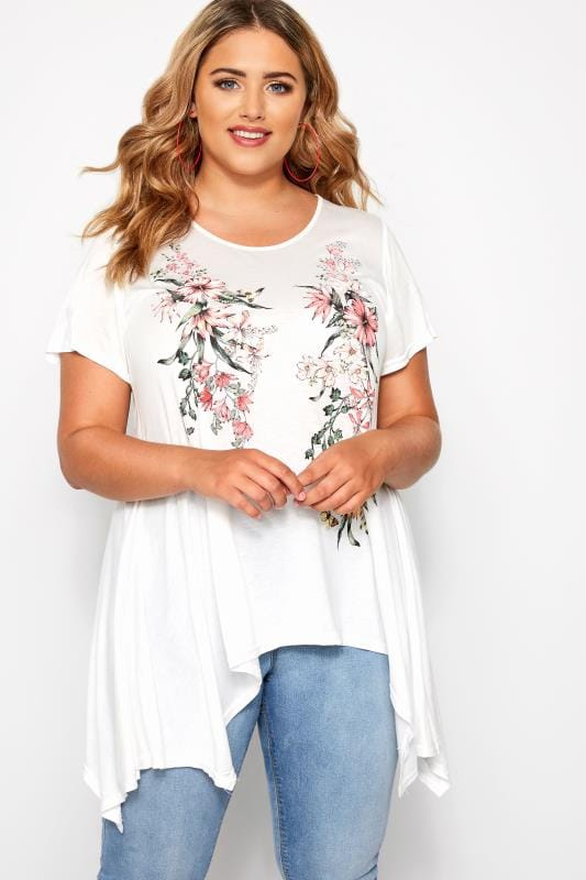 Plus Size T-Shirts SIZE UP White & Red Floral Hanky Hem T-Shirt