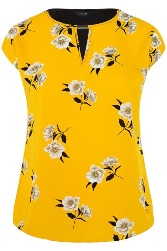 SIZE UP Yellow Floral Cut Out Blouse