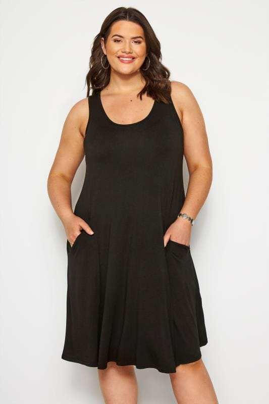 Black Sleeveless Drape Pocket Dress