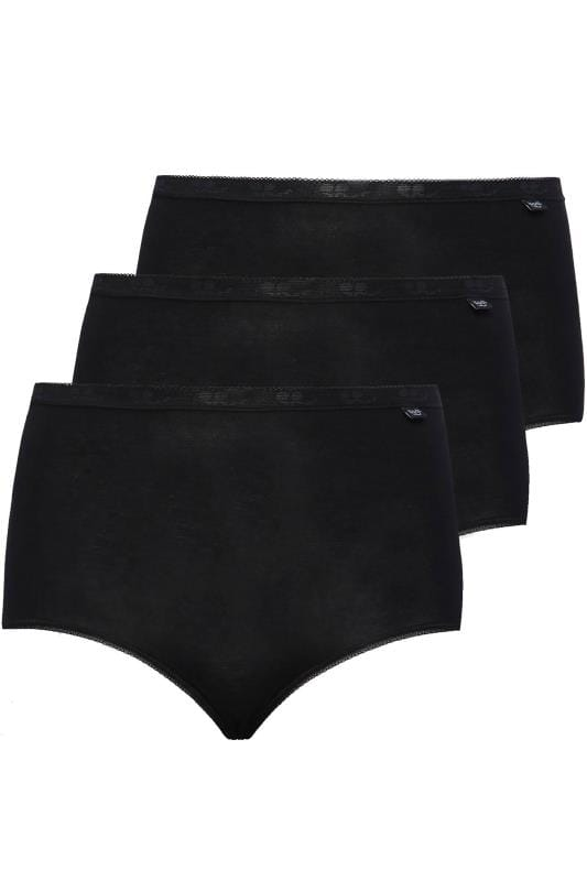 Briefs & Knickers SLOGGI 3 PACK Black Basic Maxi Briefs 014071