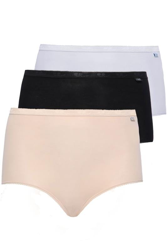 Plus Size Briefs & Knickers SLOGGI 3 PACK Black, White And Nude Basic Maxi Briefs