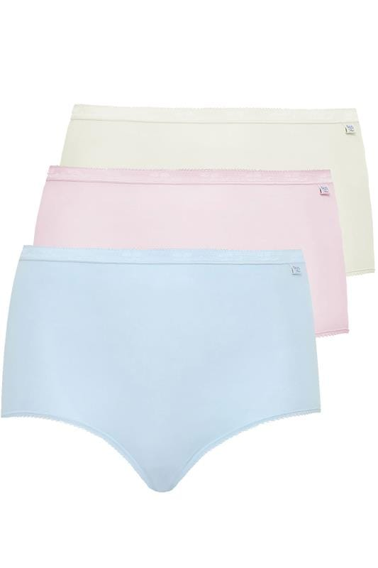 Plus Size Briefs & Knickers SLOGGI 3 PACK Pastel Blue, Pink And Nude Basic Maxi Briefs