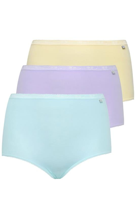 Plus Size Briefs & Knickers SLOGGI 3 PACK Pastel Blue, Purple And Yellow Basic Maxi Briefs