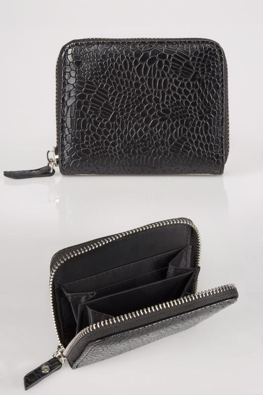 Plus Size Bags & Purses Black Textured Snakeskin Effect Small Zip Around Purse