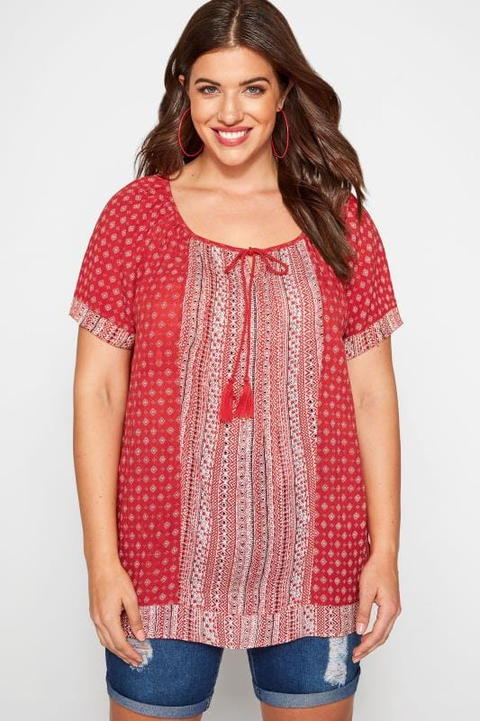 Plus Size Gypsy Tops Red Aztec Print Gypsy Top