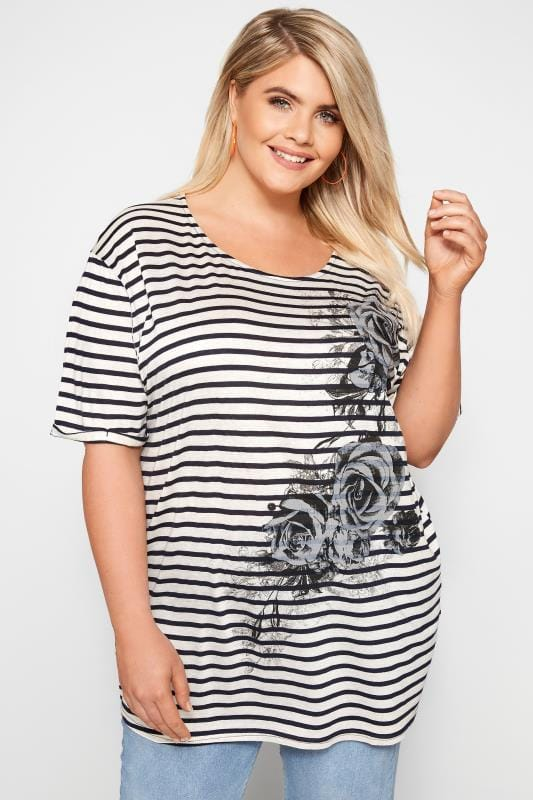 Plus Size T-Shirts White & Navy Striped Rose T-Shirt