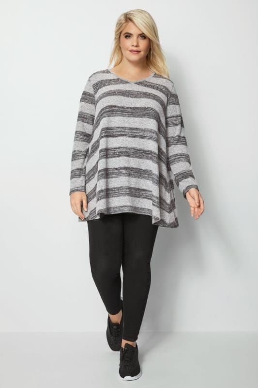 Grey Diamante Striped Swing Top