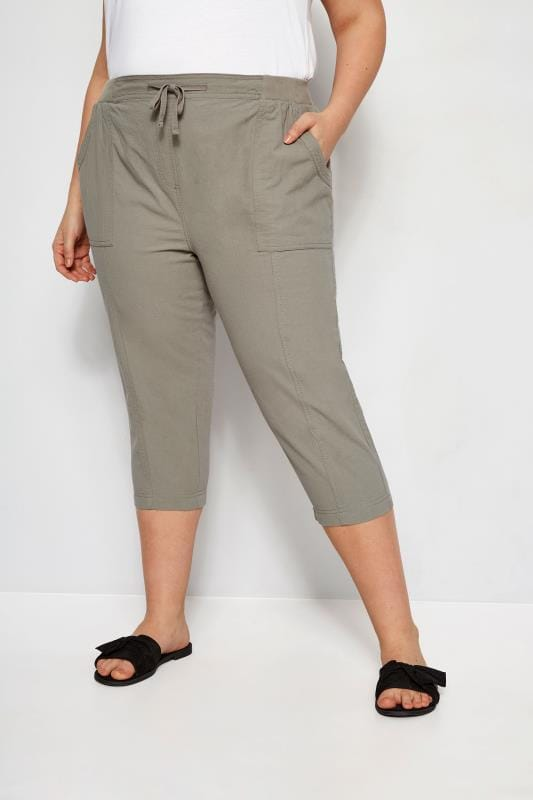 Plus Size Cropped Pants Sage Green Cool Cotton Cropped Trousers