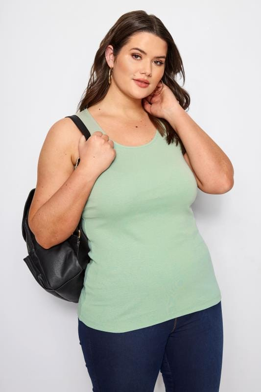 Plus Size Vests & Camis Sage Green Vest Top