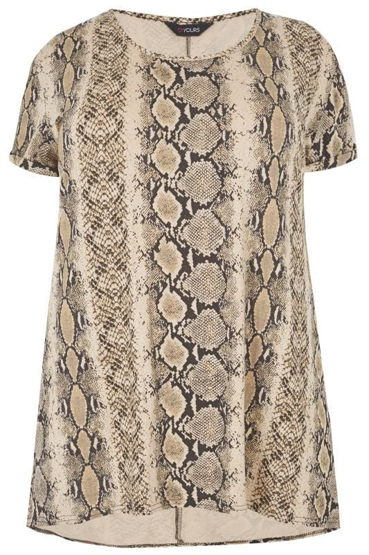 Plus Size Jersey Tops Sand Snake Print T-Shirt