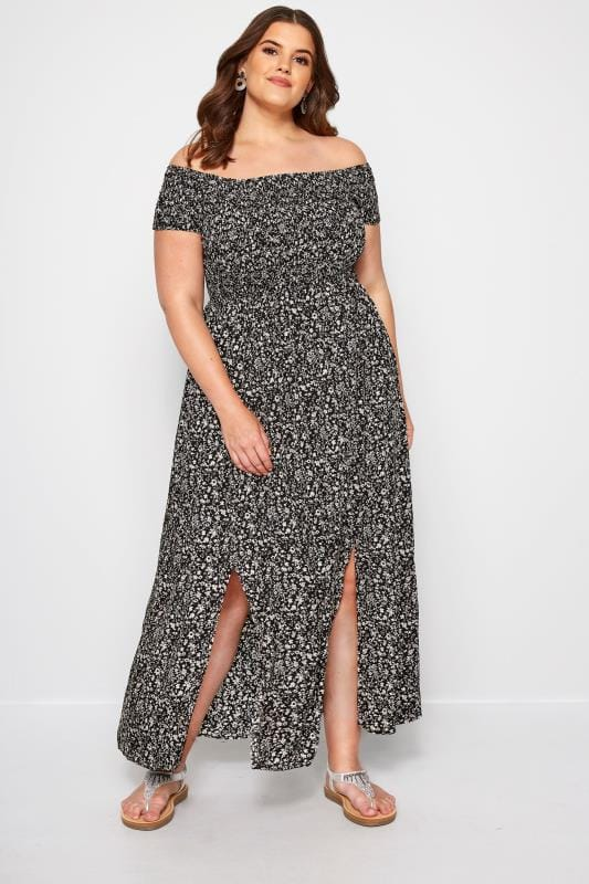 Black Floral Shirred Maxi Dress