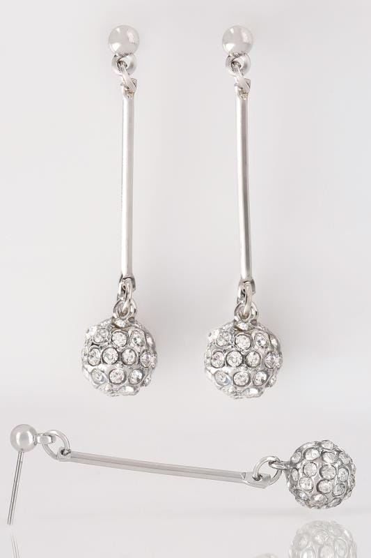 Silver Ball Shaped Drop Earrings With Diamante Details