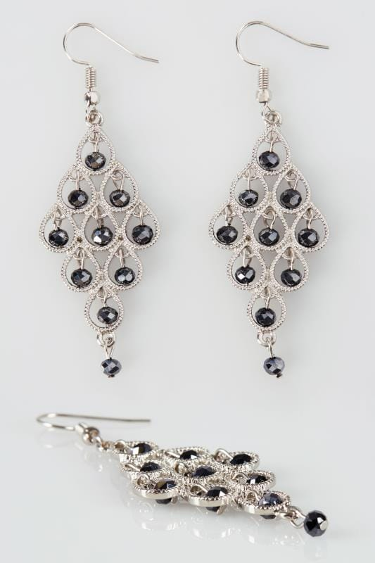 Plus Size Earrings Silver Bead Chandelier Drop Earrings