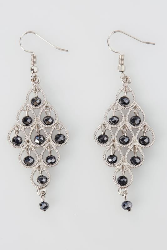 Silver Bead Chandelier Drop Earrings
