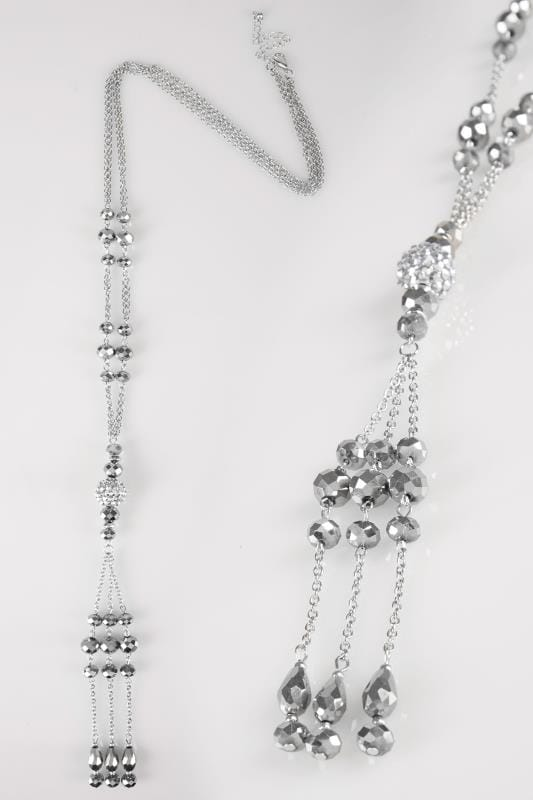 Silver Bead Drop Tassel Necklace