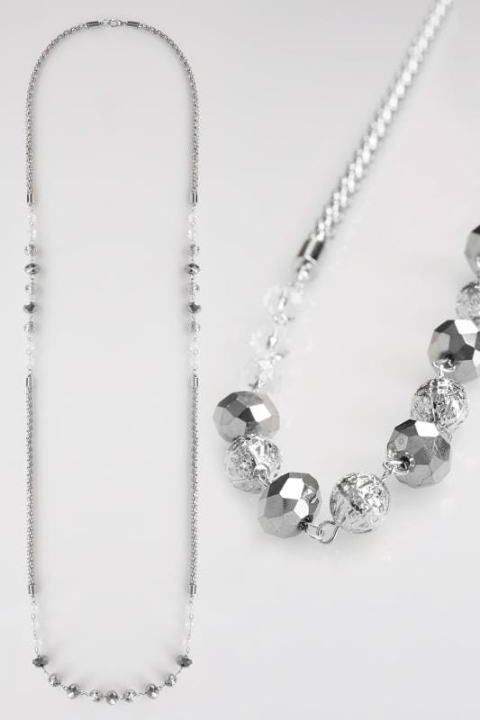 Silver Bead Long Chain Necklace
