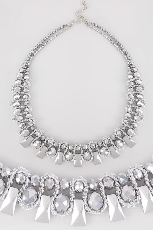 Necklaces Silver Bead & Wire Chunky Necklace 152394