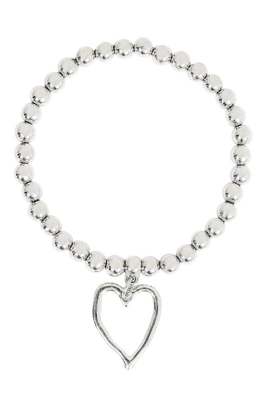 Silver Beaded Bracelet With Hammered Heart Pendant