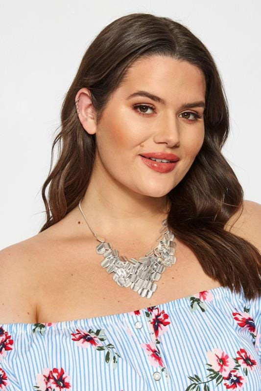 Plus Size Jewellery Silver Bib Necklace