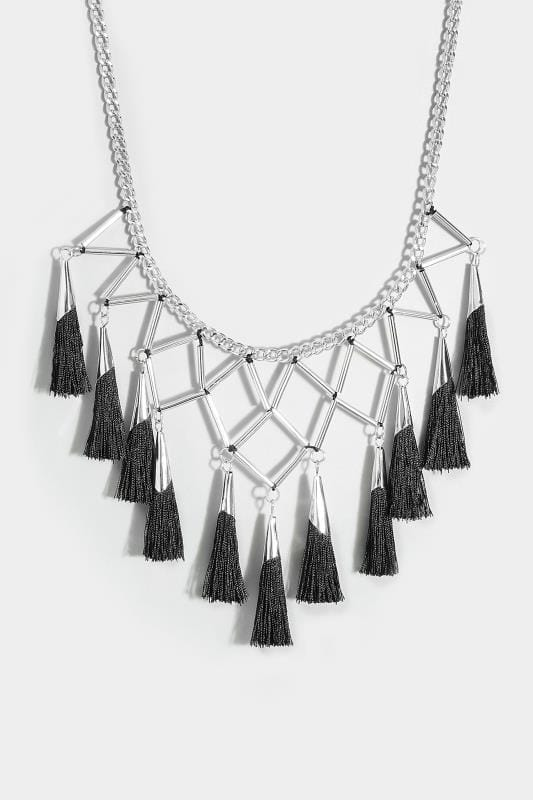 silver  u0026 black geometric tassel necklace