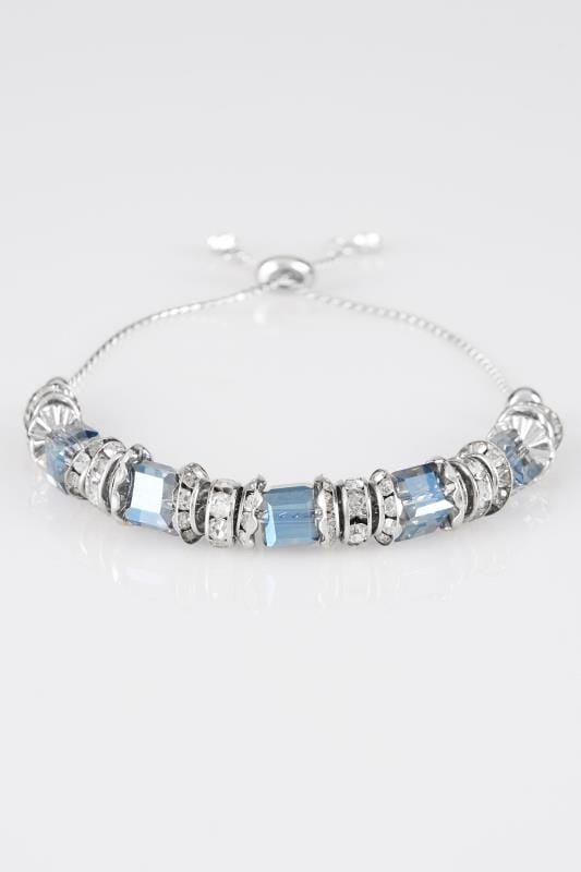 Silver & Blue Adjustable Bead Bracelet