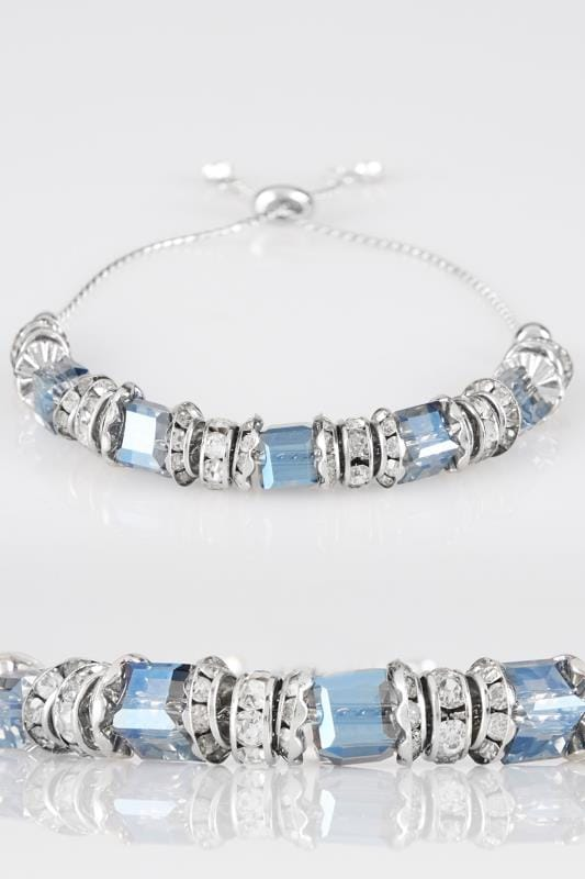 Bracelets Silver & Blue Adjustable Bead Bracelet 152353