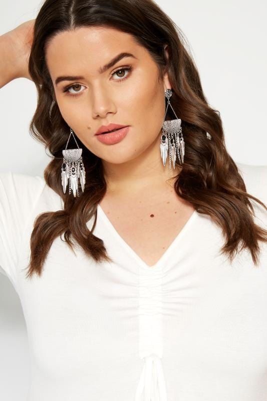Plus Size Jewellery Silver Boho Chandelier Earrings