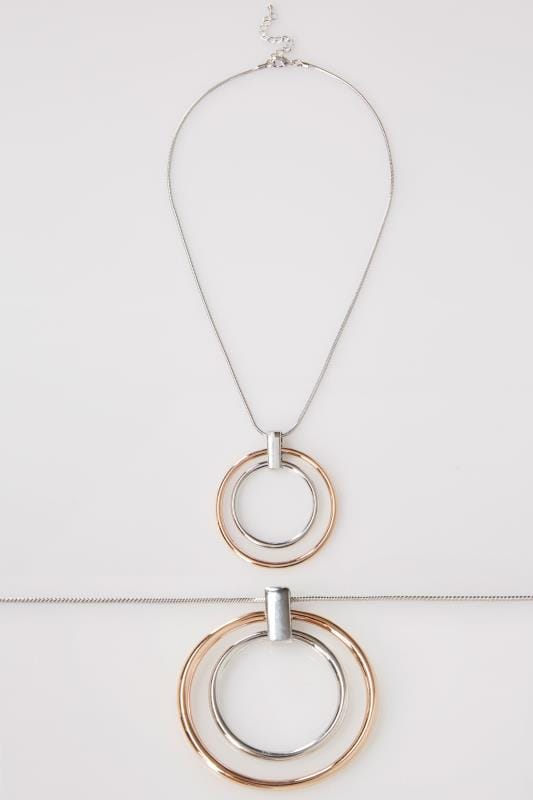 Silver & Bronze Necklace With Double Circle Pendant