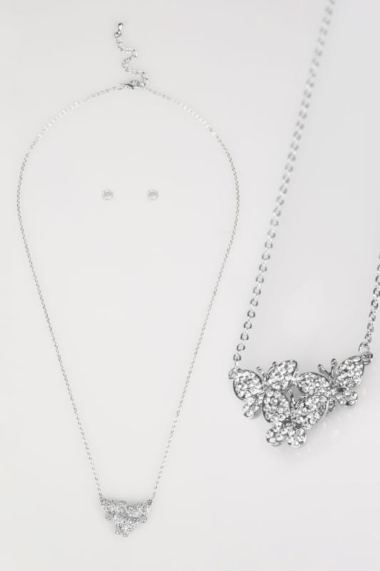 Plus Size Jewellery Silver Butterfly Diamante Necklace & Stud Earrings Set