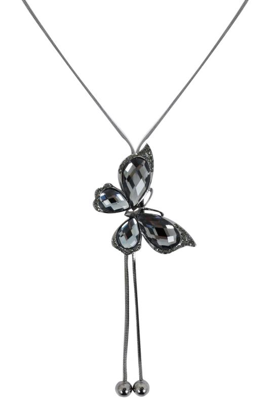 Silver Butterfly Pendant Necklace With Crystal Detail