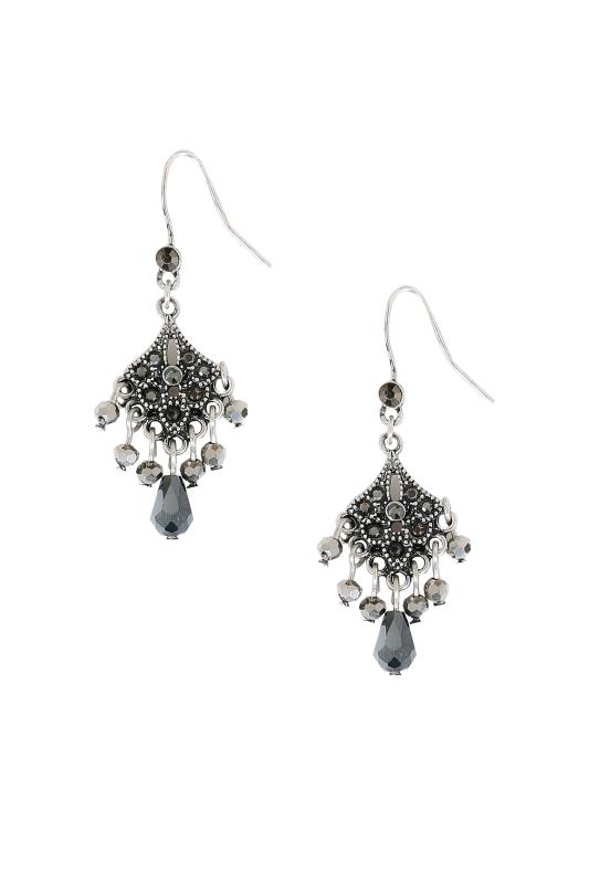 Silver Chandelier Earrings With Black Diamante Detail