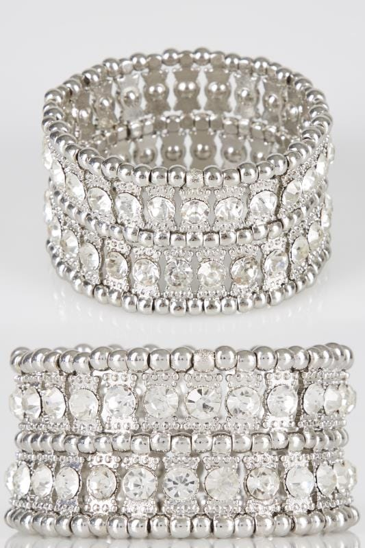 Plus Size Bracelets Silver Chunky Diamante Stretch Bracelet