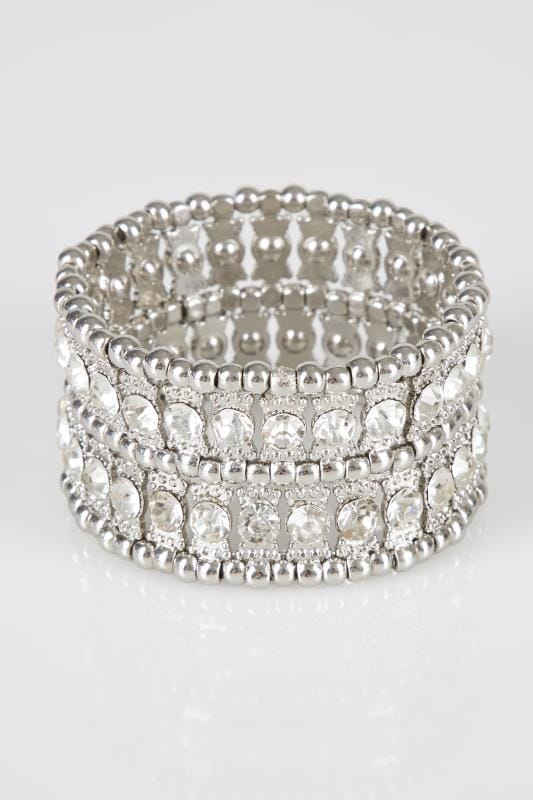 Silver Chunky Diamante Stretch Bracelet