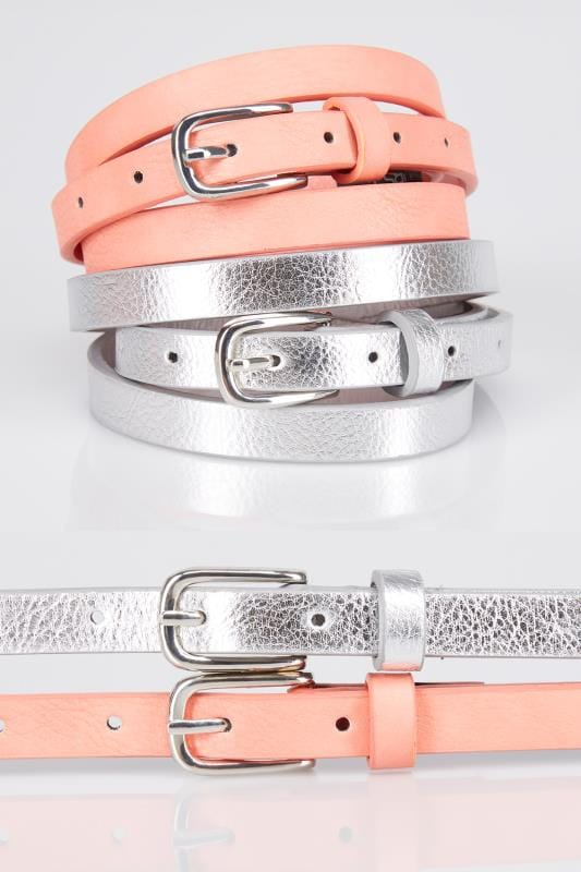 Silver & Coral Skinny Waist Belt - 2 Pack