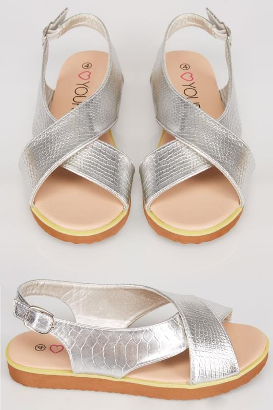 Silver Cross Over Flat Sling Back Sandals With Silver Buckle In EEE Fit