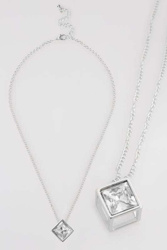 Silver Cube & Diamante Pendant Necklace
